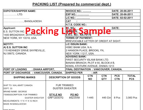 Packing list format used in apparel industry
